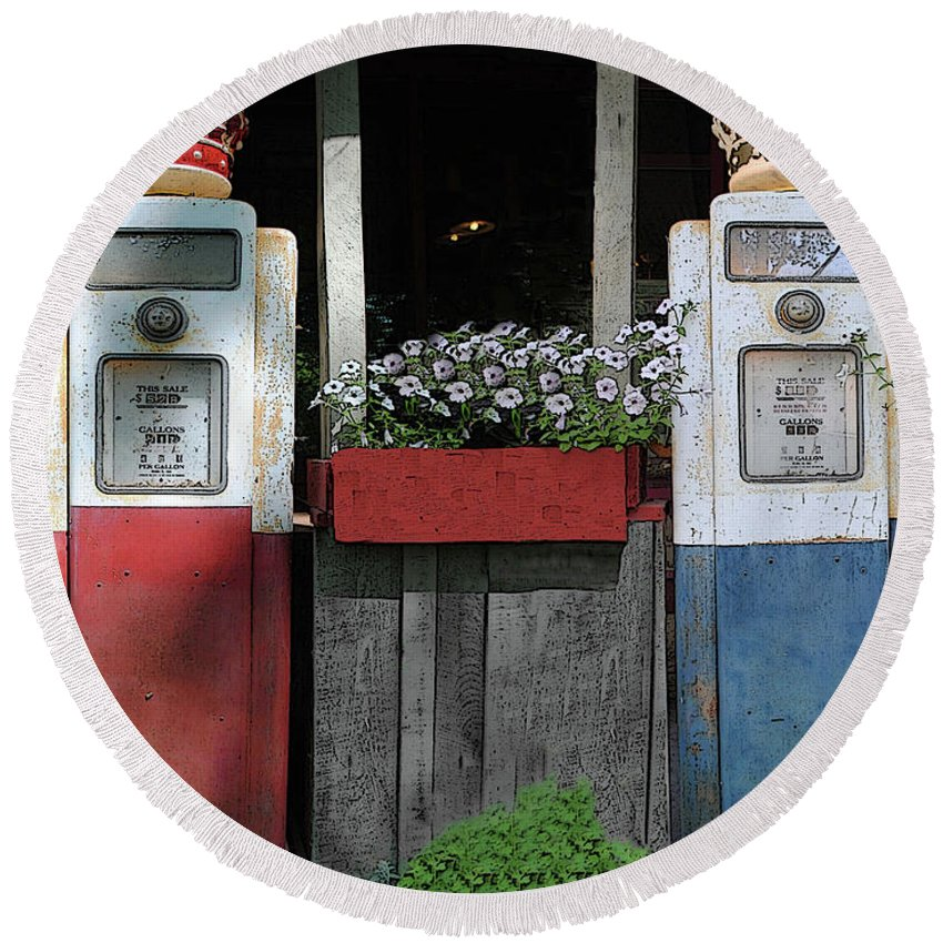 Antigue Round Beach Towel featuring the photograph Antique Gas Pumps by Jost Houk