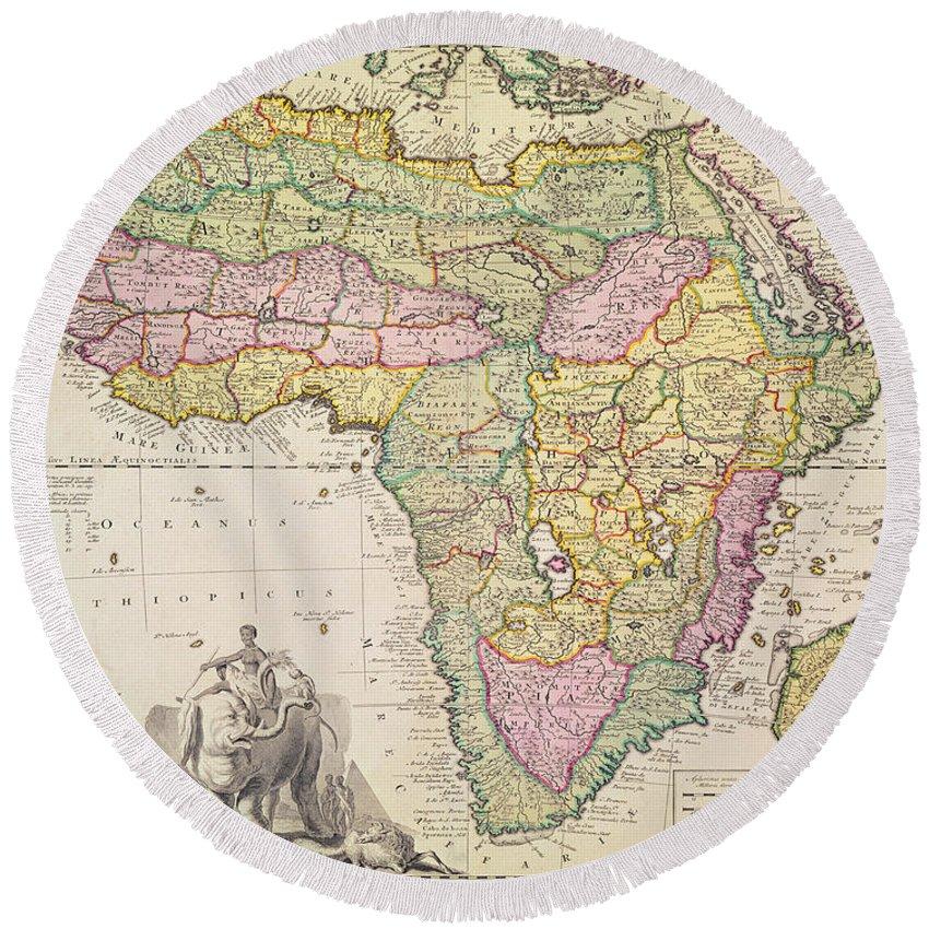 antique map of africa round beach towel for sale by pieter schenk