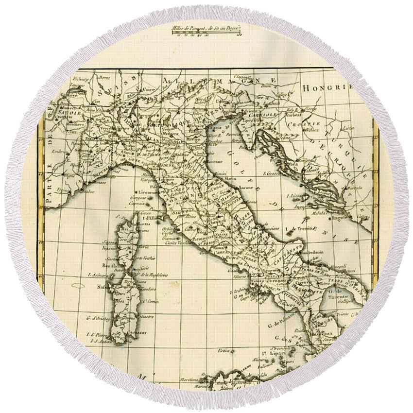 Maps Round Beach Towel featuring the drawing Antique Map Of Italy by Guillaume Raynal