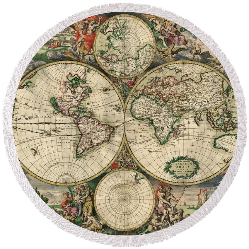 Antique Map Of The World Round Beach Towel featuring the painting Antique Map Of The World - 1689 by Marianna Mills