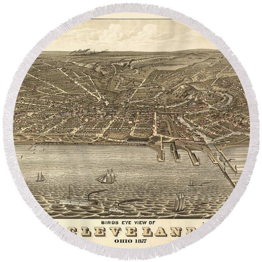 Antique Birds Eye View Map Of Cleveland Round Beach Towel featuring the drawing Antique Maps - Old Cartographic Maps - Antique Birds Eye View Map Of Cleveland, Ohio, 1877 by Studio Grafiikka