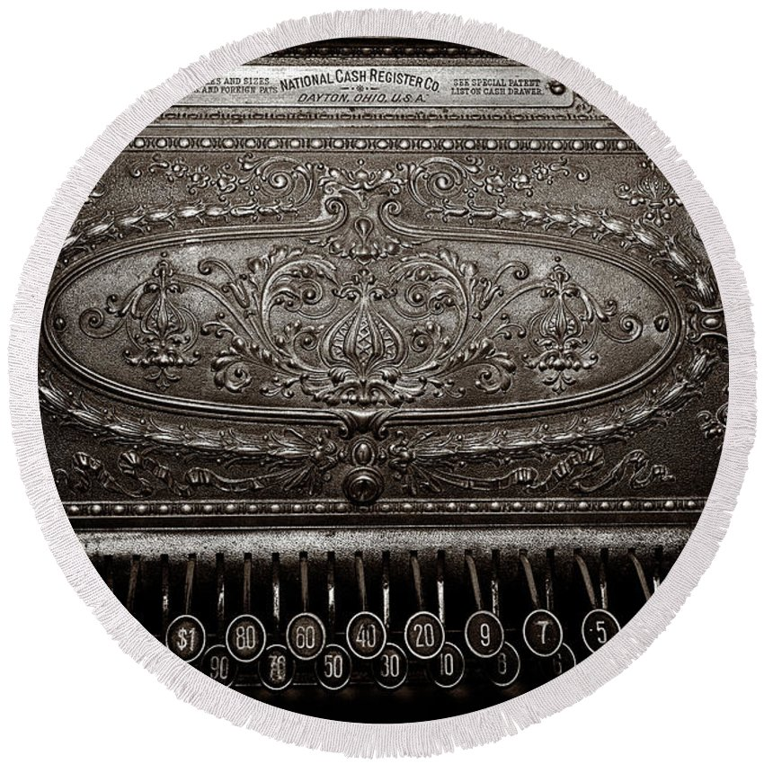 Cash Register Round Beach Towel featuring the photograph Antique Ncr - Sepia by Christopher Holmes