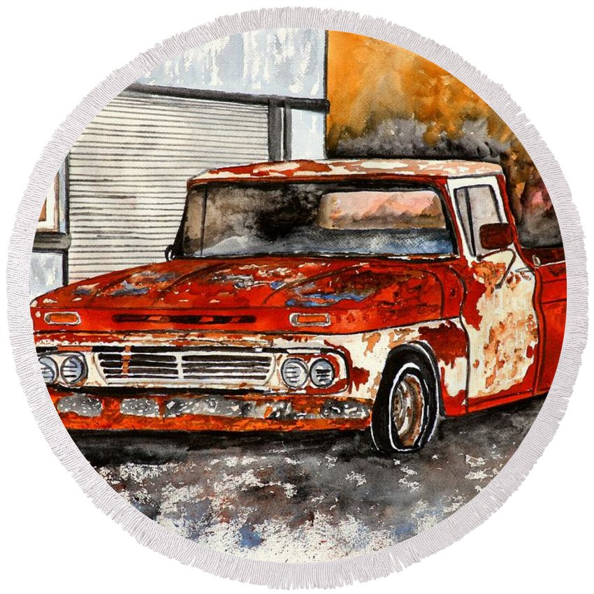Transportation Round Beach Towel featuring the painting Antique Old Truck Painting by Derek Mccrea