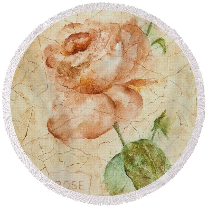 Rose Round Beach Towel featuring the painting Antique Rose by Debbie Lewis