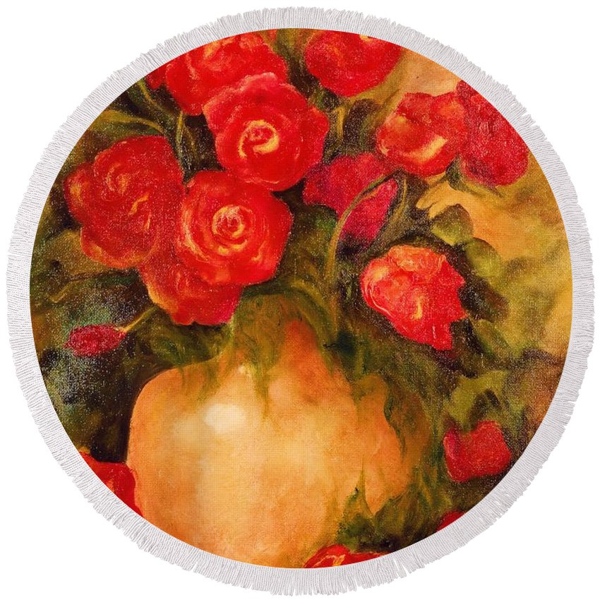 Pretty Round Beach Towel featuring the painting Antique Roses by Jordana Sands
