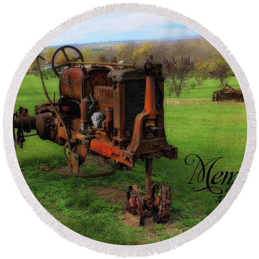 Antique Round Beach Towel featuring the photograph Antique Tractor by Tammy Sullivan