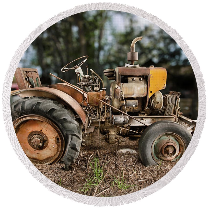 Antique Round Beach Towel featuring the photograph Antique Tractor by Yo Pedro