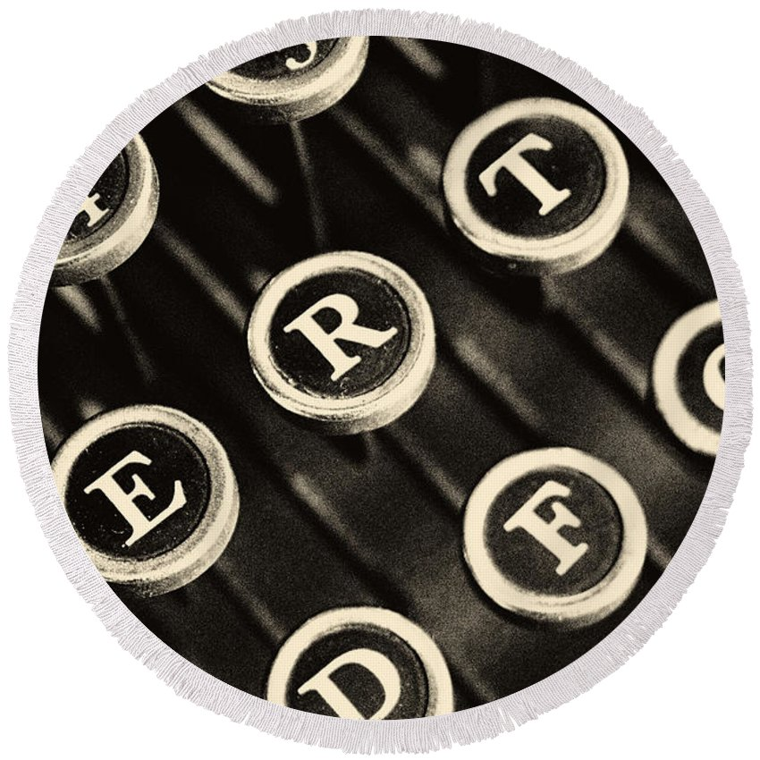 Pictorial Round Beach Towel featuring the photograph Antique Typewriter Keys Detail by Roger Passman