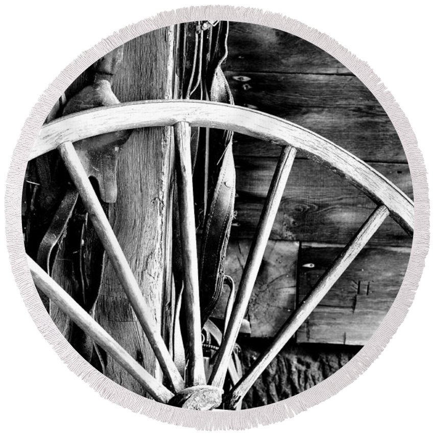 Black And White Round Beach Towel featuring the photograph Antique Wagon Wheel by Michelle Joseph-Long