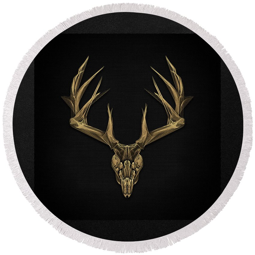 """""""antlered Skulls"""" Collection By Serge Averbukh Round Beach Towel featuring the digital art Antlered Skulls - Gold Deer Skull X-ray Over Black Canvas No.1 by Serge Averbukh"""