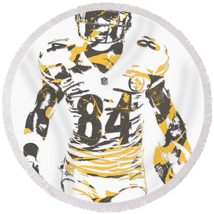 differently 0a8fe b35fd Antonio Brown Pittsburgh Steelers Pixel Art 17 Round Beach Towel