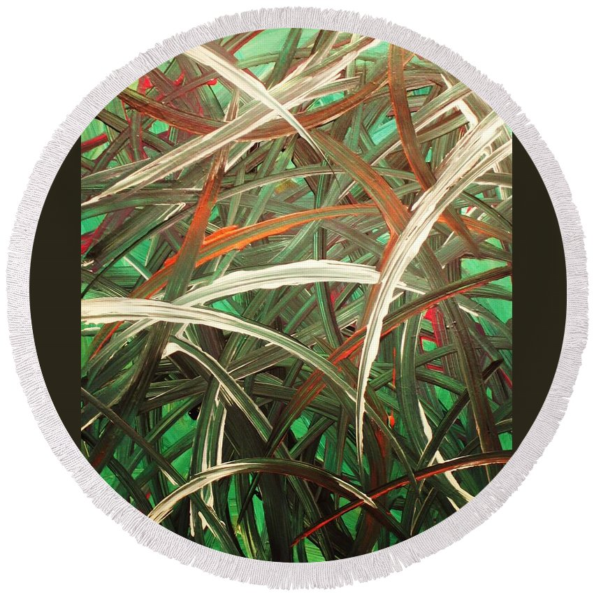 Abstract Round Beach Towel featuring the painting Anxiety by Todd Hoover