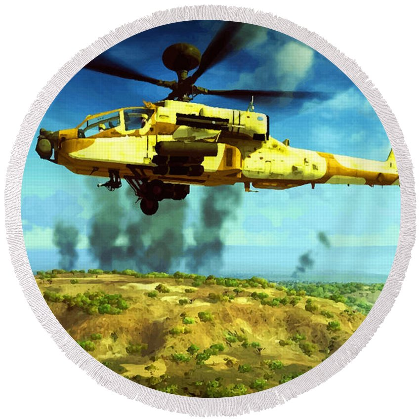 Decorative Round Beach Towel featuring the digital art Apache Ai Assault - Operation Desert Wolves by Don Kuing