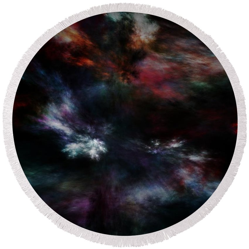 Abstract Digital Painting Round Beach Towel featuring the digital art Apocalyptical Dawn by David Lane