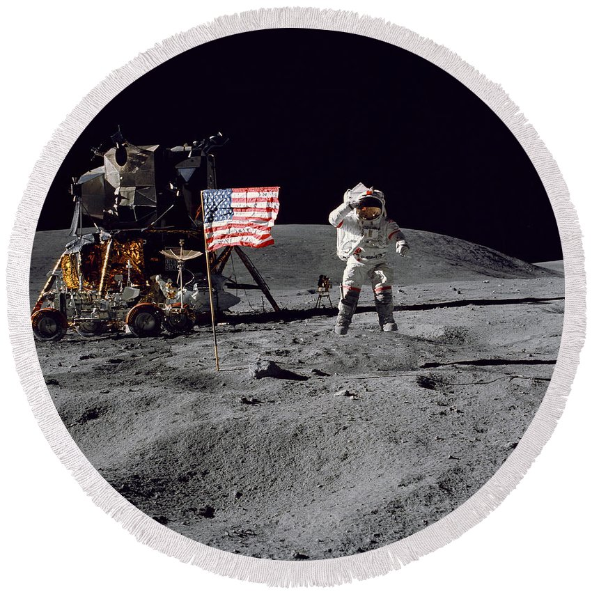 1972 Round Beach Towel featuring the photograph Apollo 16 Astronaut Leaps by Stocktrek Images