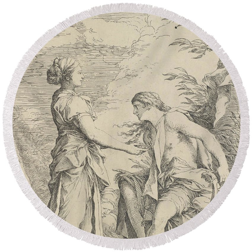 17th Century Art Round Beach Towel featuring the relief Apollo And The Cumaean Sibyl by Salvator Rosa