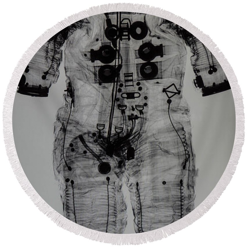 Richard Nixon Presidential Library Round Beach Towel featuring the photograph Apollo Space Suit X-ray by Tommy Anderson