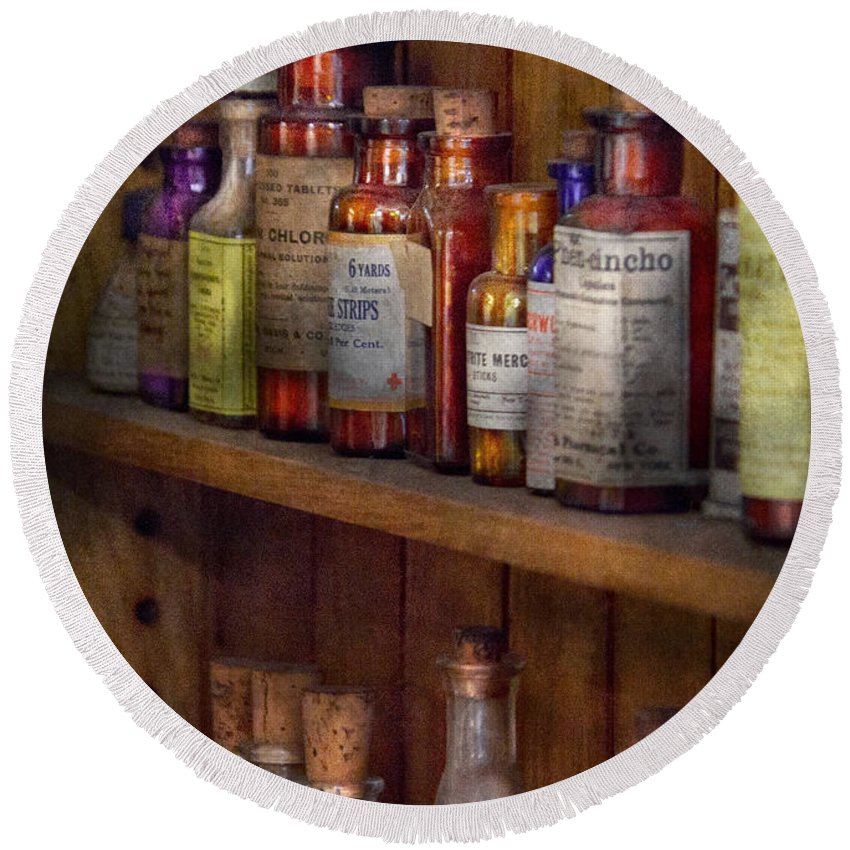 Suburbanscenes Round Beach Towel featuring the photograph Apothecary - Inside The Medicine Cabinet by Mike Savad
