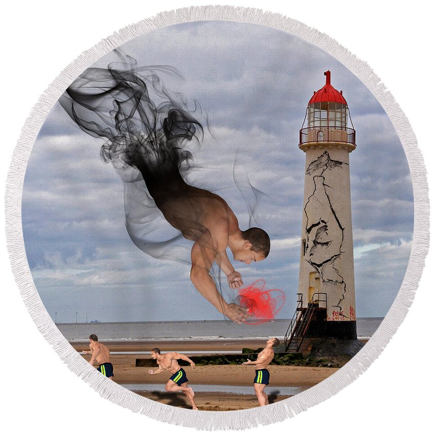 Apparition And Sighting Round Beach Towel featuring the digital art Apparition And Sighting by Solomon Barroa