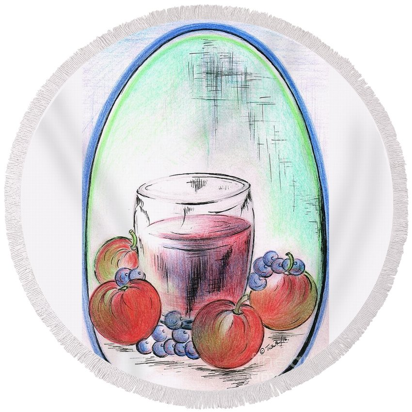Teresa White Round Beach Towel featuring the drawing Apple And Blueberry Drink by Teresa White