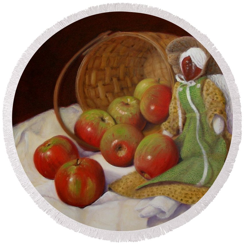 Realism Round Beach Towel featuring the painting Apple Annie by Donelli DiMaria
