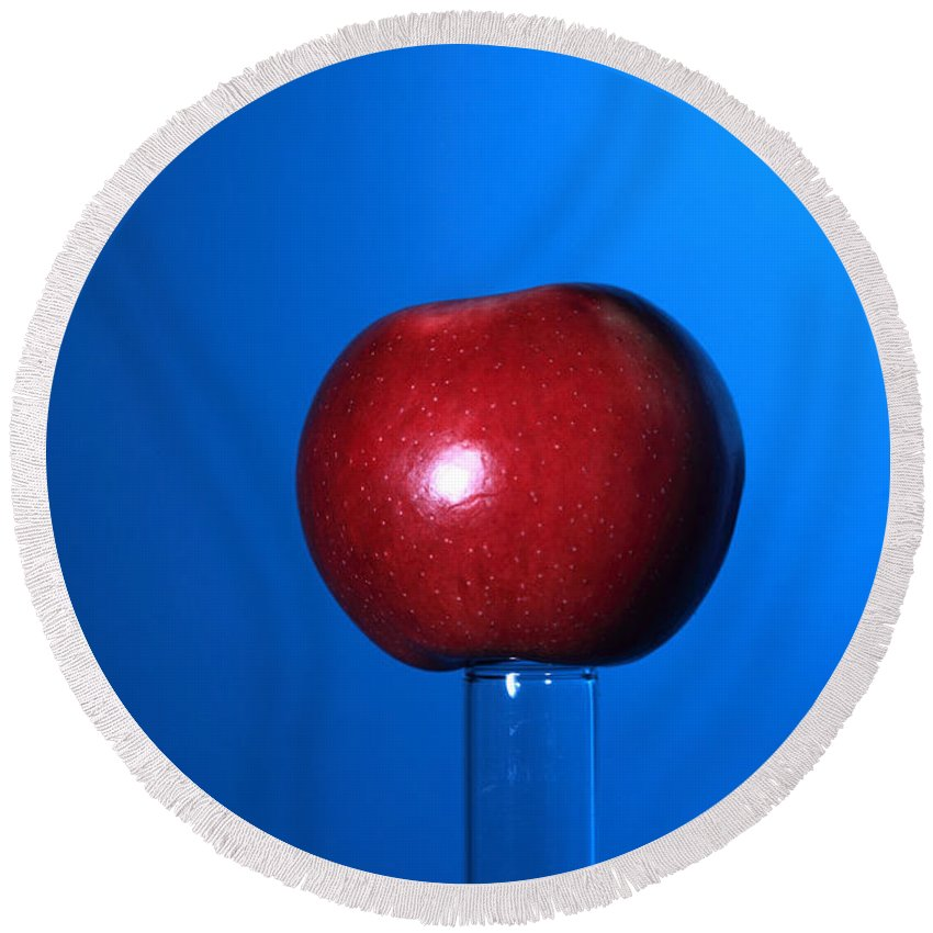 Science Round Beach Towel featuring the photograph Apple Before Bullet Impact by Ted Kinsman