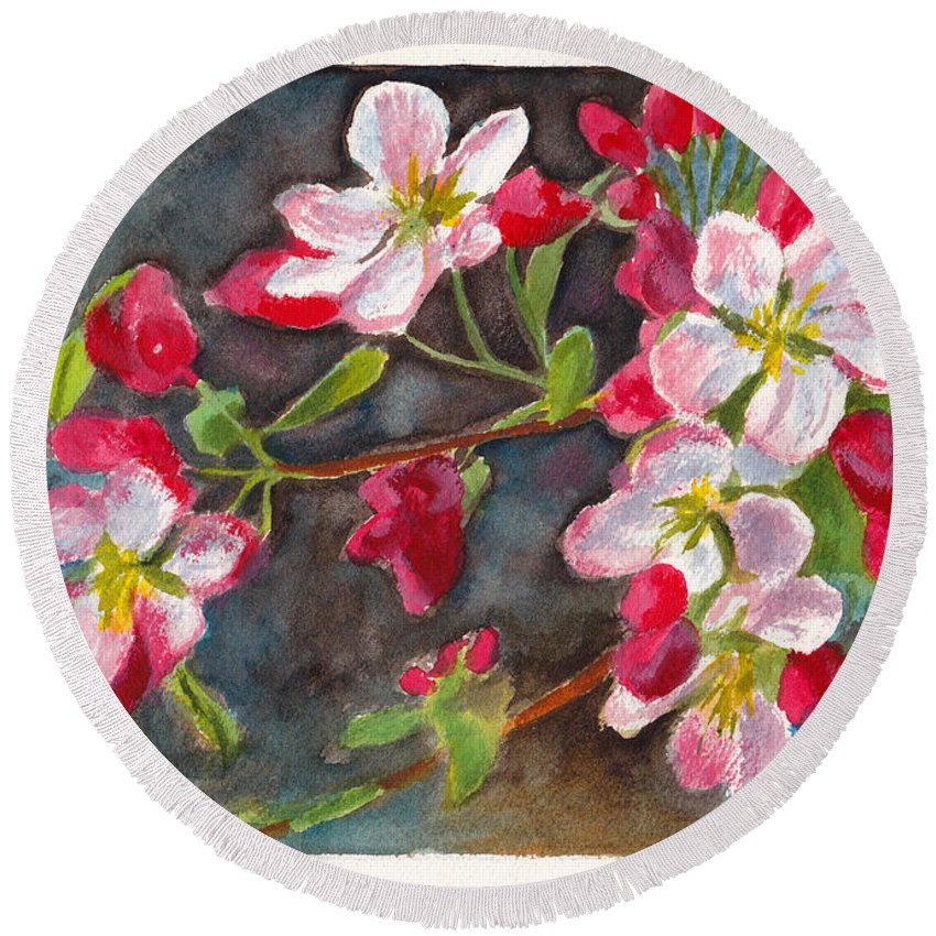Blossom Round Beach Towel featuring the painting Apple Blossom 2 by Dai Wynn