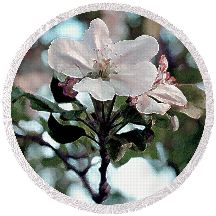 Flowers Round Beach Towel featuring the painting Apple Blossom Time by RC deWinter