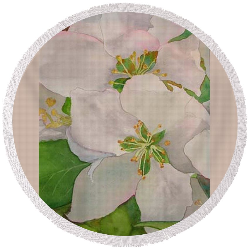 Apple Blossoms Round Beach Towel featuring the painting Apple Blossoms by Sharon E Allen