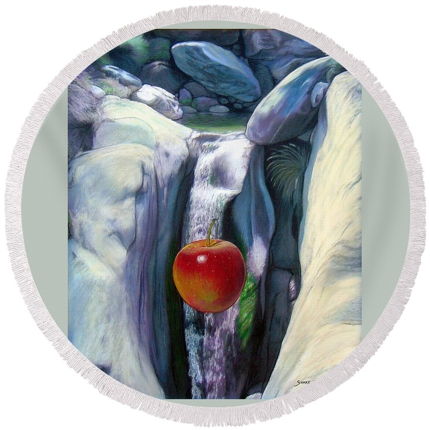 Apples Round Beach Towel featuring the digital art Apple Falls by Snake Jagger