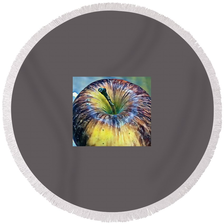 Fruit Round Beach Towel featuring the painting Apple by Murali Gatti