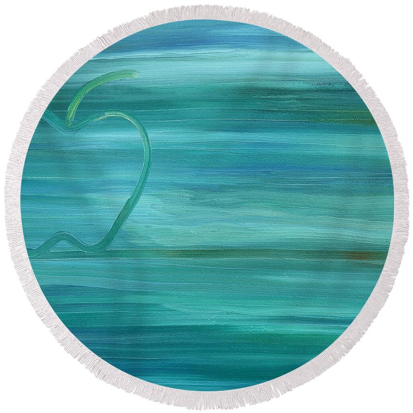 Apples Round Beach Towel featuring the painting Apple On A Ledge by Patrick J Murphy