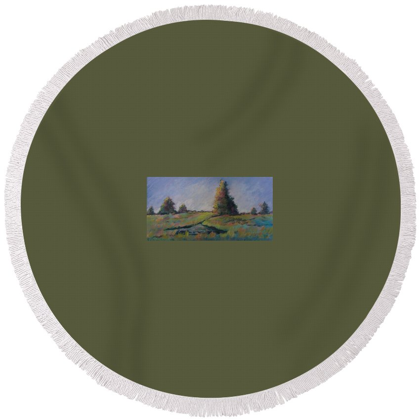 Landscape Round Beach Towel featuring the pastel Apple Pond by Pat Snook