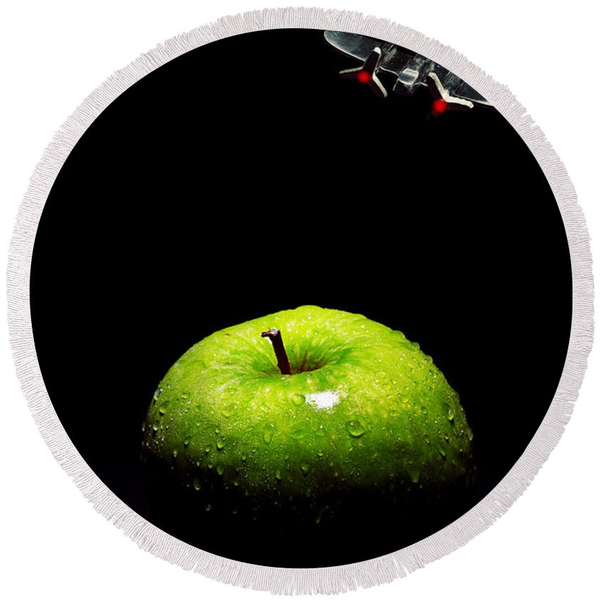 Surreal Round Beach Towel featuring the photograph Apple Under Attack by Robert Storost