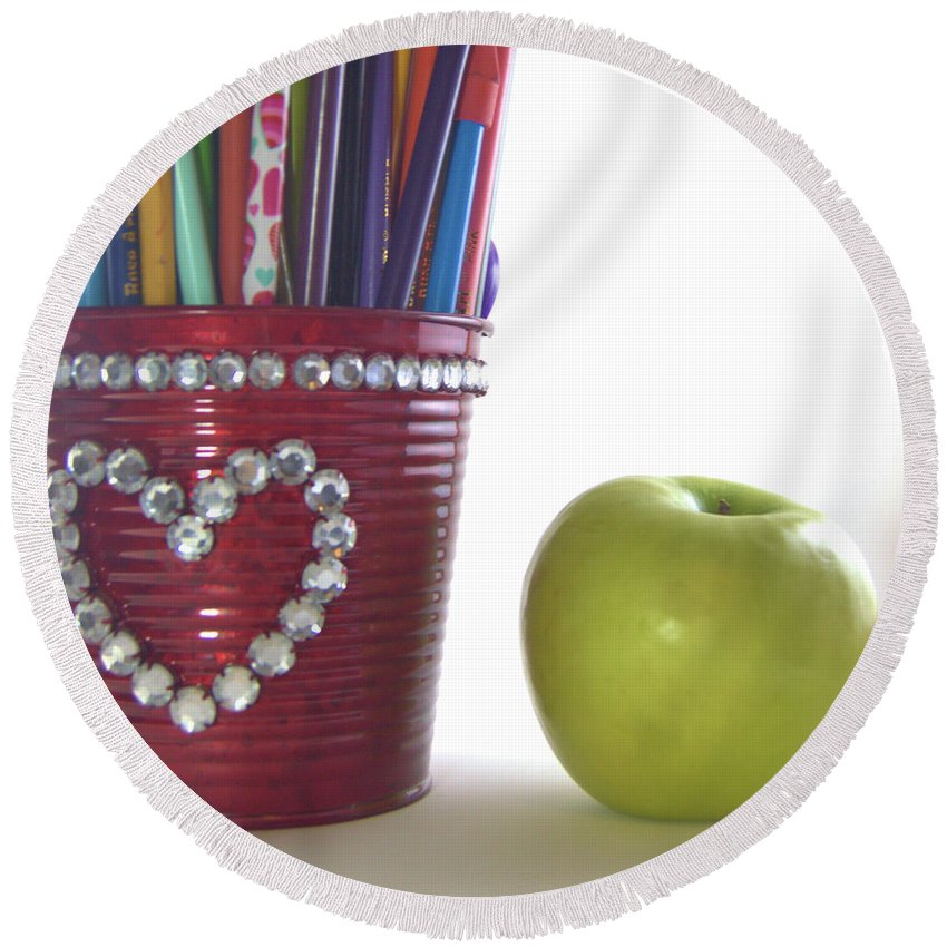Pencils Round Beach Towel featuring the photograph Apple by Wendy Fox