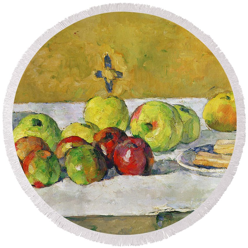 Apples Round Beach Towel featuring the painting Apples And Biscuits by Paul Cezanne