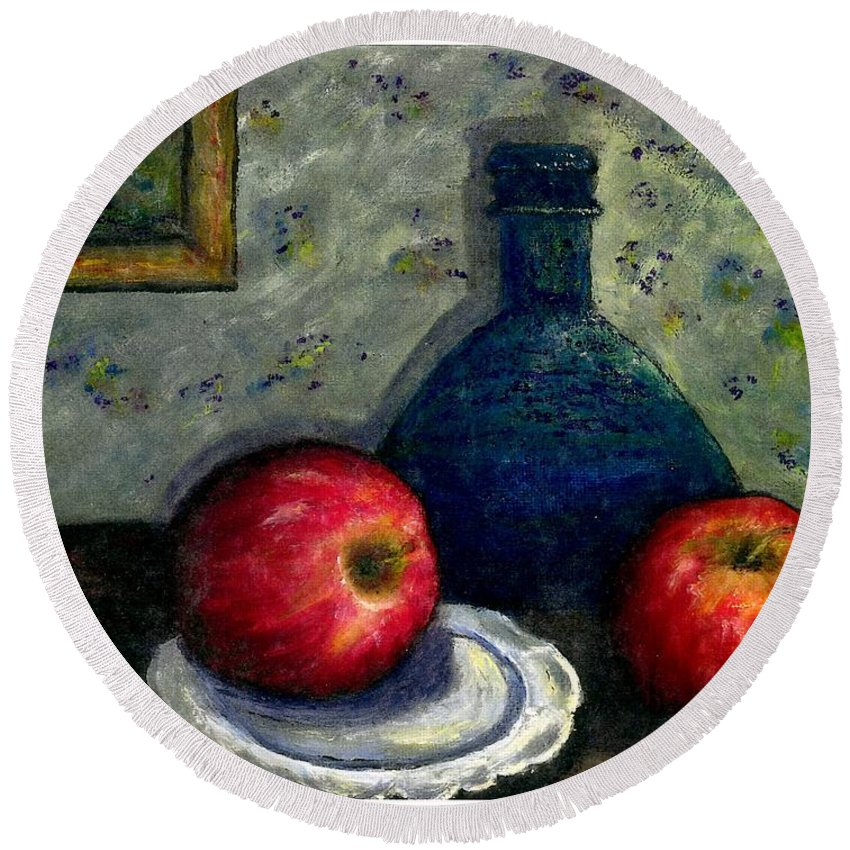 Still Life Round Beach Towel featuring the painting Apples And Bottles by Gail Kirtz