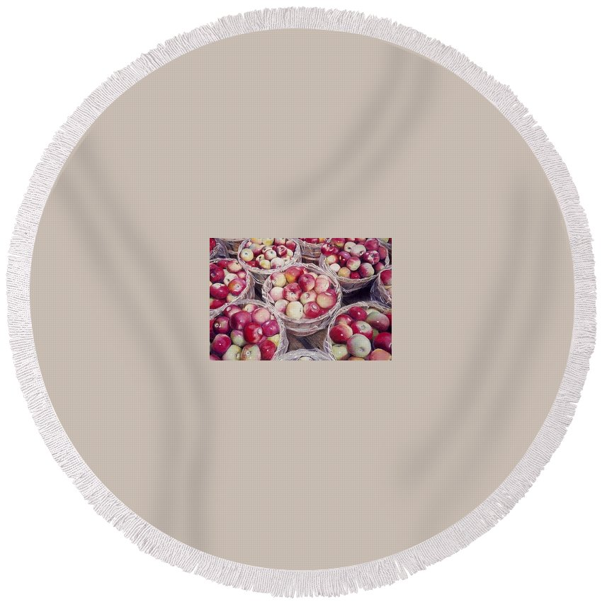 Red Round Beach Towel featuring the painting Apples by Constance Drescher