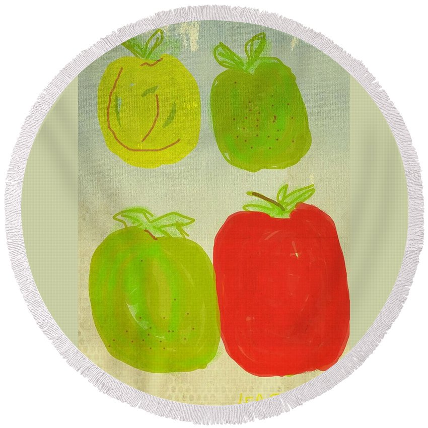 Red Delicious Round Beach Towel featuring the digital art Apples by Kathy Barney