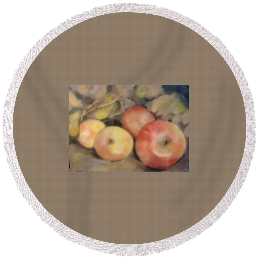 Fruit Round Beach Towel featuring the painting Apples by Pat Snook