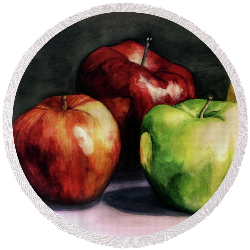 Round Beach Towel featuring the painting Apples by Valentina Blinkova