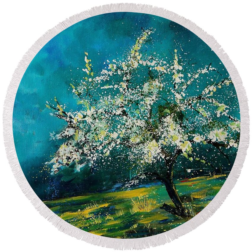 Spring Round Beach Towel featuring the painting Appletree In Spring by Pol Ledent