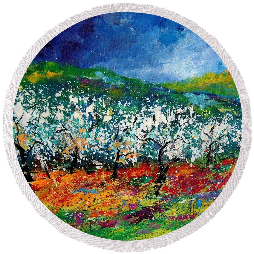 Spring Round Beach Towel featuring the painting Appletrees 4509070 by Pol Ledent