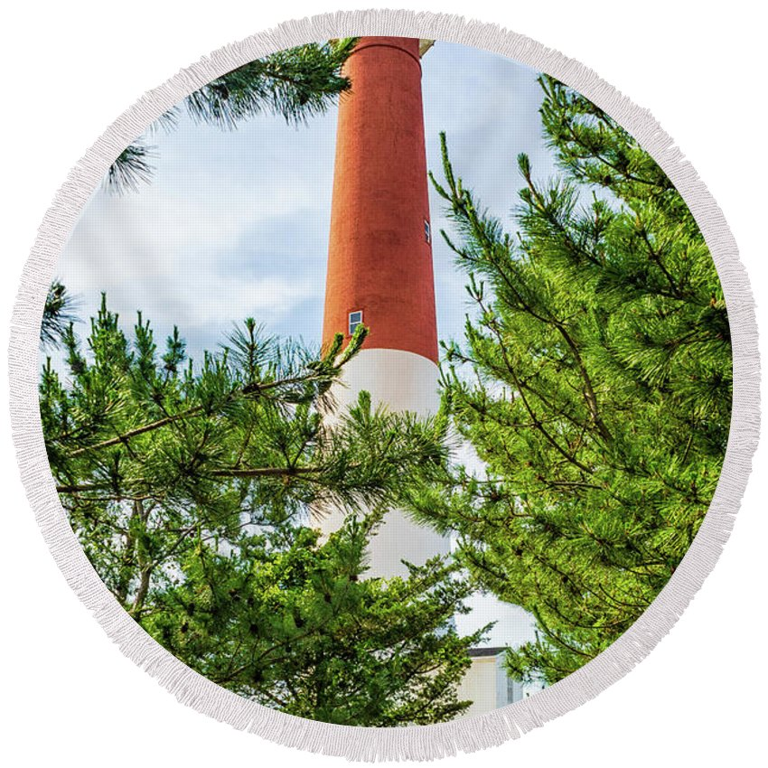 Atlantic Coast Round Beach Towel featuring the photograph Approach To Barnegat Light by Nick Zelinsky