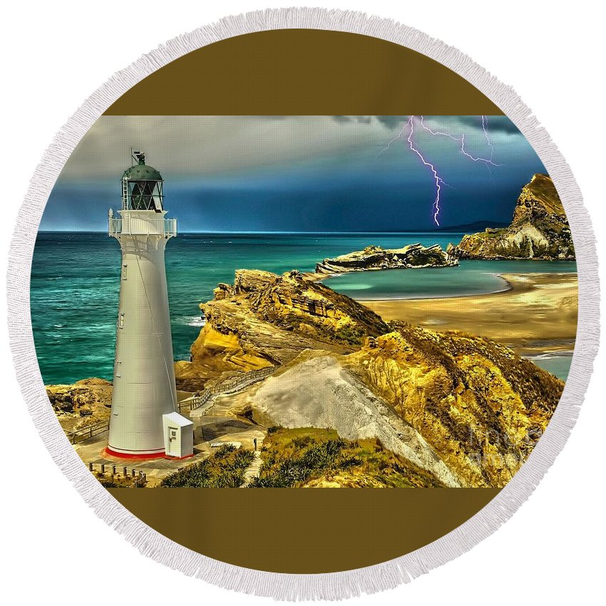 Lighthouse Round Beach Towel featuring the digital art Approaching Storm 2015 by Kathryn Strick