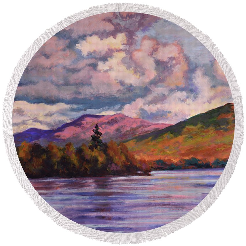 Impressionism Round Beach Towel featuring the painting Approaching Storm by Keith Burgess