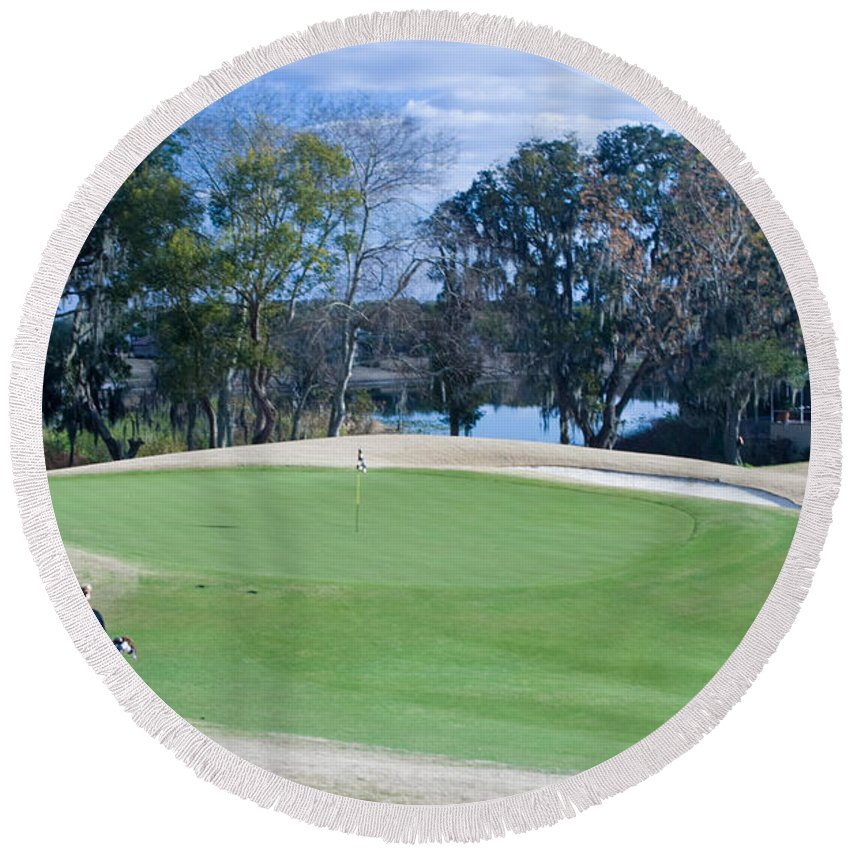 Golf Round Beach Towel featuring the photograph Approaching The 18th Green by Thomas Marchessault