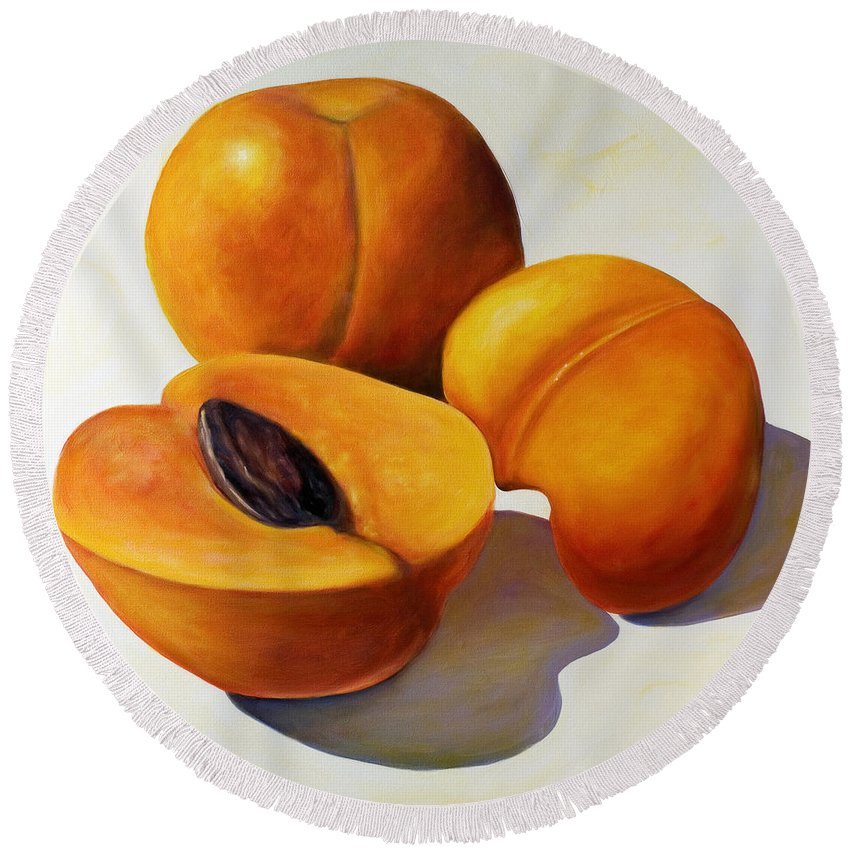 Apricots Round Beach Towel featuring the painting Apricots by Shannon Grissom