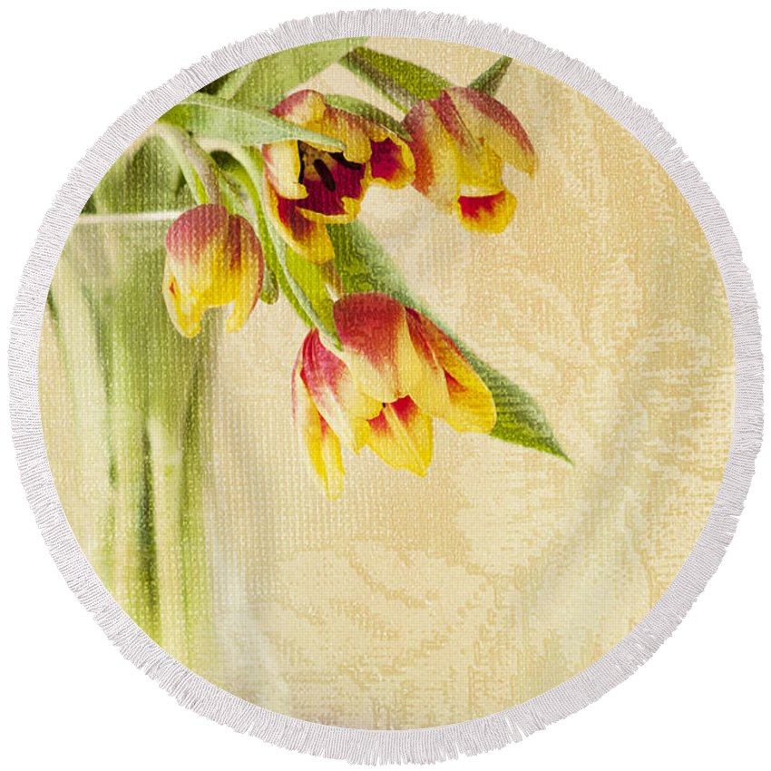 Still Life Photograph Round Beach Towel featuring the photograph April Flowers by Jill Love