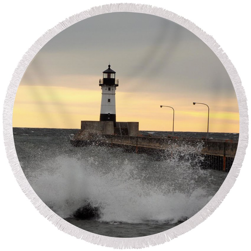 Lake Superior Round Beach Towel featuring the photograph April Gales by Alison Gimpel